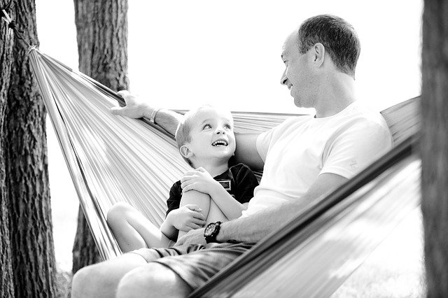 milující otec se synem